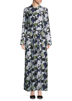 Equipment Floral-Print Silk Maxi Shirtdress