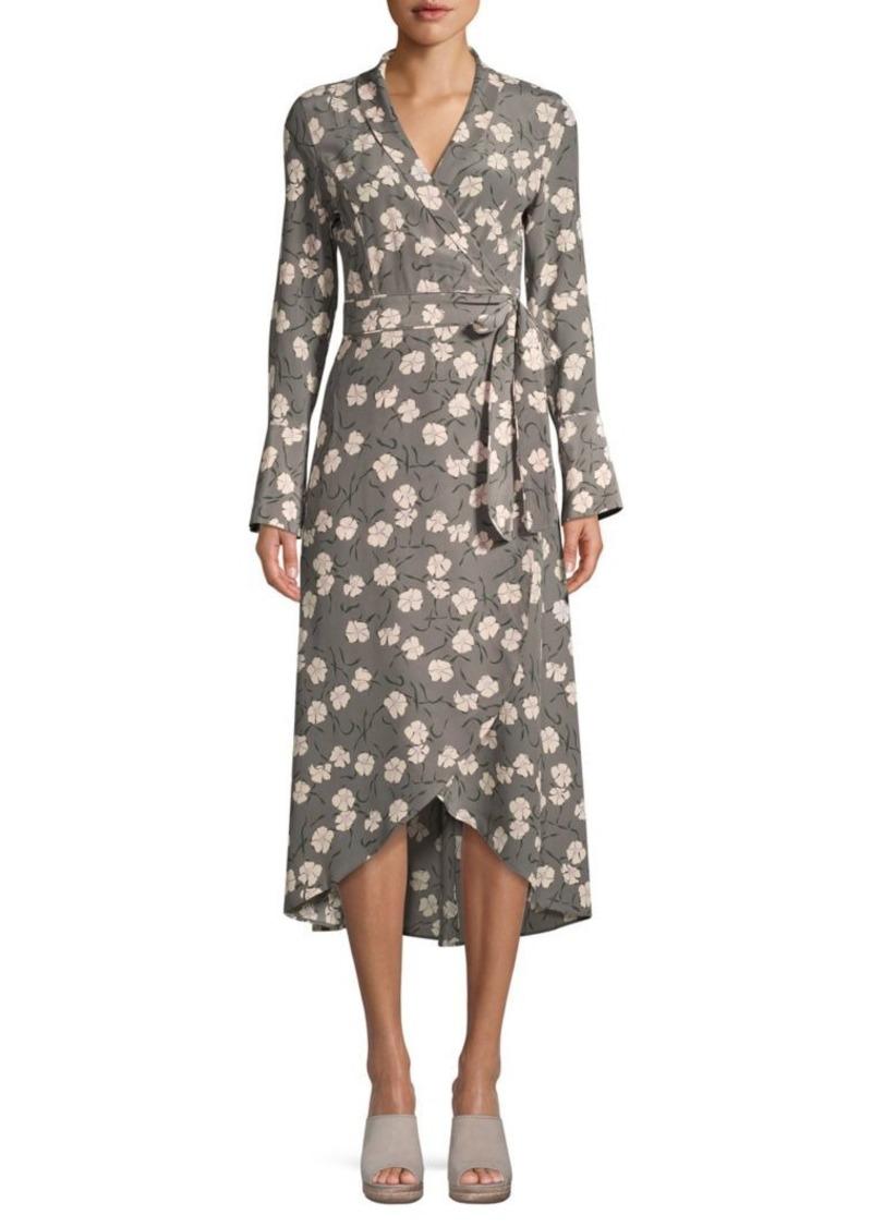 Equipment Floral-Print Silk Wrap Dress