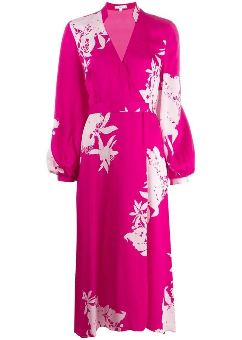 Equipment floral wrap midi dress