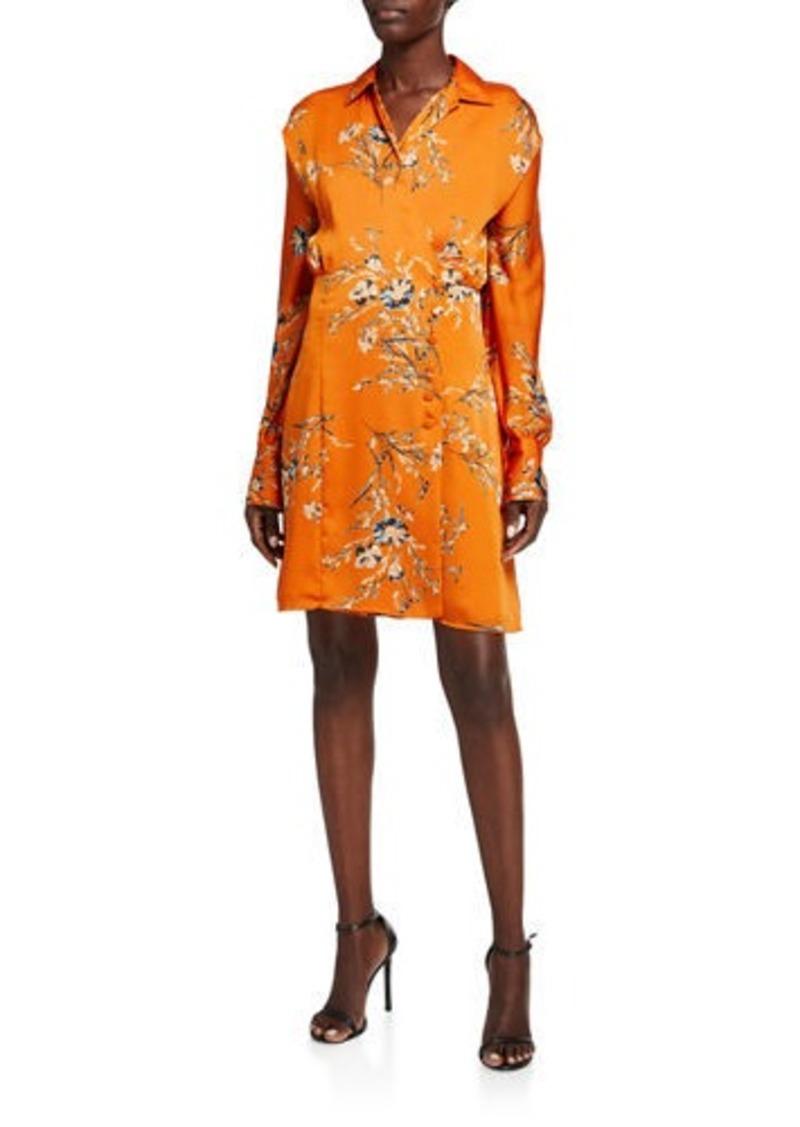 Equipment Harmon Floral Long-Sleeve Wrap Dress