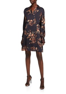 Equipment Harmon Floral Long-Sleeve Wrap Dress