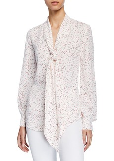 Equipment Haty Dotted Button-Front Blouson-Sleeve Blouse