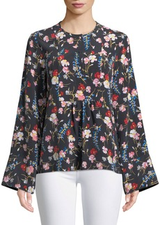 Equipment Heather Flare-Sleeve Floral Silk Blouse