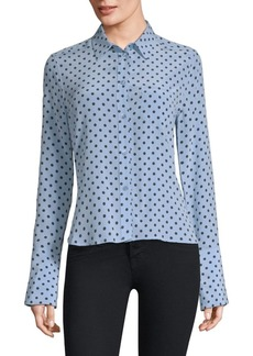 Equipment Huntley Silk Polka-Dot Shirt