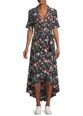 Equipment Imogene Floral-Print Silk Long Wrap Dress