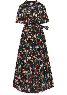 Equipment Imogene Floral-print Washed-silk Wrap Dress