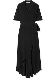 Equipment Imogene Washed-silk Wrap Midi Dress