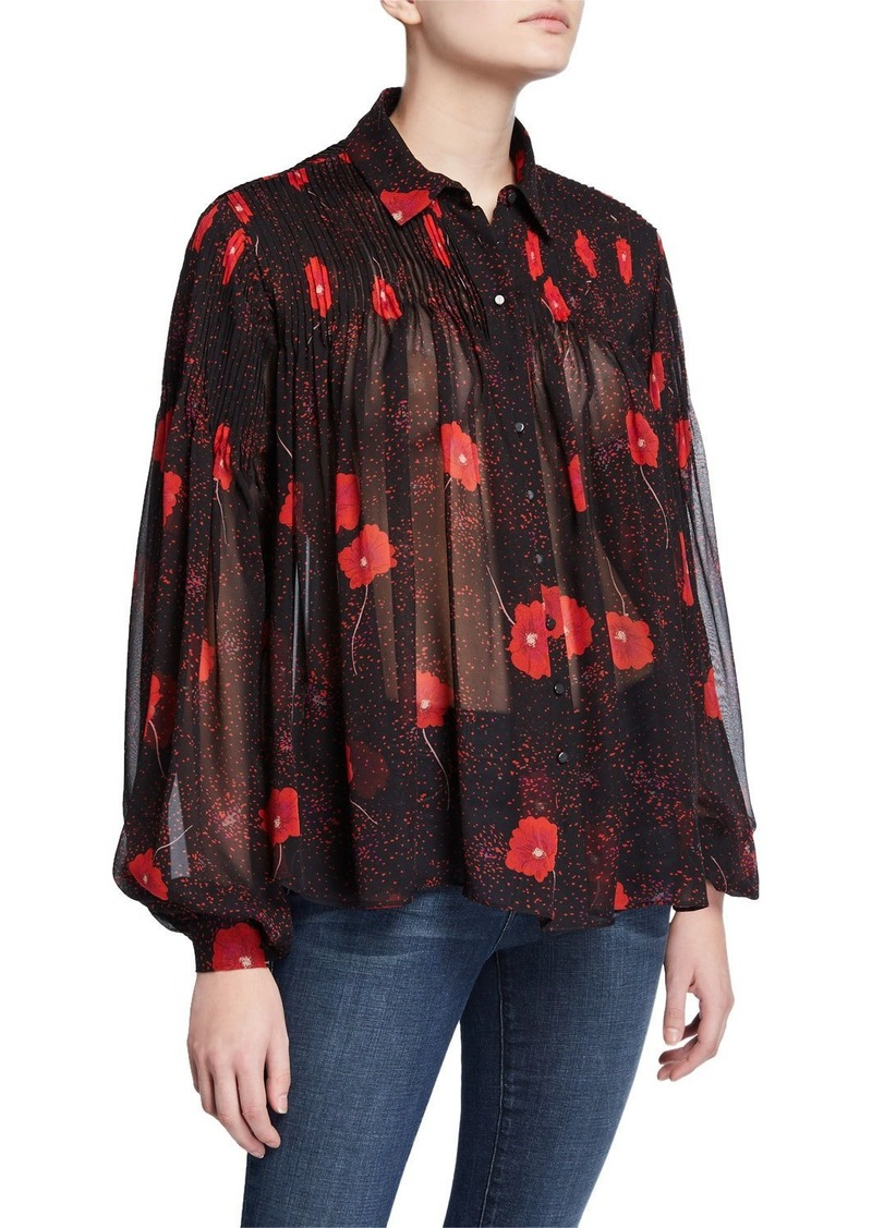 Equipment Jaslyn Floral Button-Down Long-Sleeve Silk Top