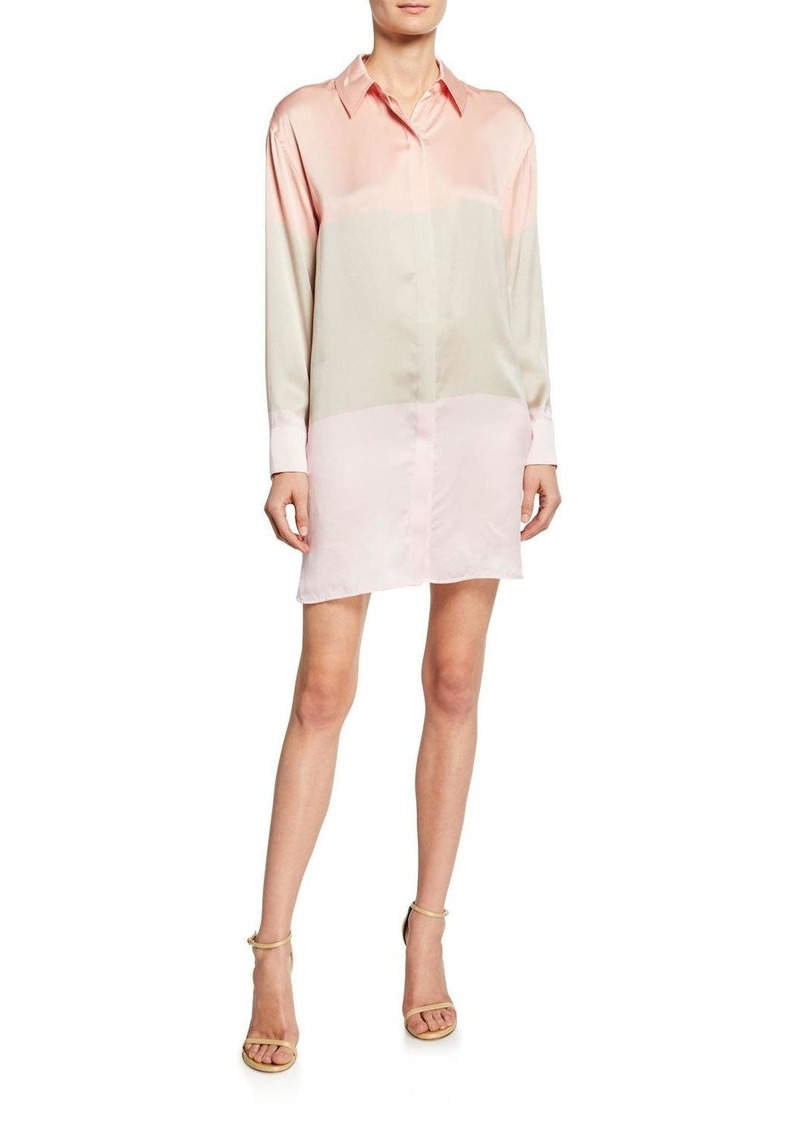 Equipment Lacene Silk Colorblock Shirtdress