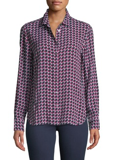Equipment Leema Long-Sleeve Button-Front Houndstooth Blouse
