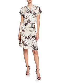 Equipment Leonce Abstract Short-Sleeve Silk Wrap Dress