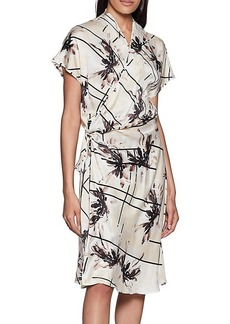 Equipment Leonce Floral Silk Wrap Dress