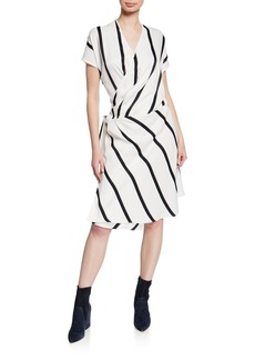 Equipment Leonce Striped Short-Sleeve Wrap Dress