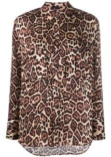 Equipment leopard print long sleeve shirt