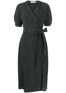 Equipment leopard print wrap dress