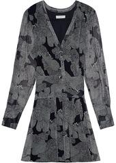 Equipment Lisle long-sleeve silk minidress