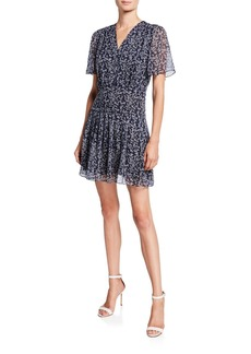 Equipment Lisle Printed V-Neck Short-Sleeve Dress