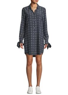 Equipment Manning Button-Front Long-Sleeve Floral-Print Plaid Shirtdress