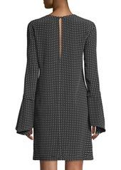 Equipment Mari Dot-Print Silk Flared-Sleeve Short Dress