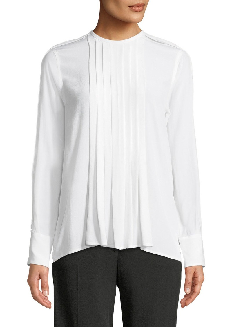 Equipment Marilla Pleated-Front Long-Sleeve Silk Blouse