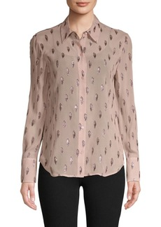 Equipment Metallic Silk-Blend Shirt