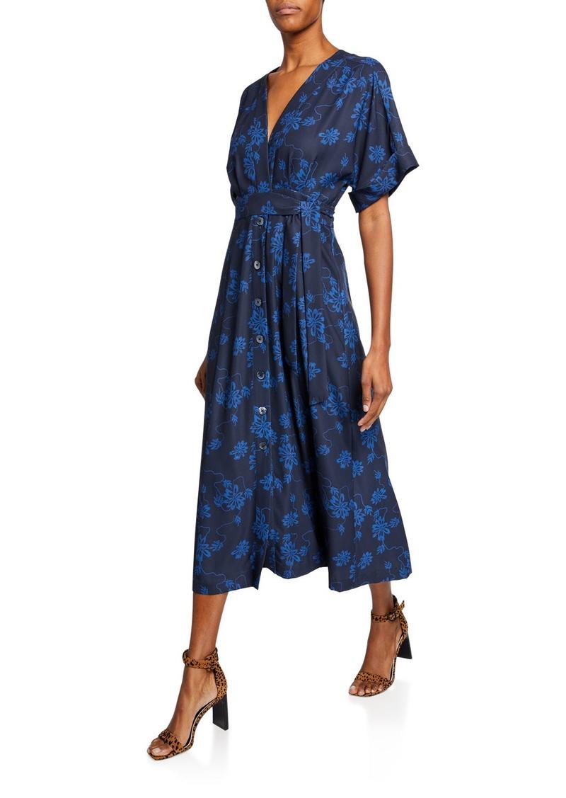 Equipment Nauman A-line Floral Midi Dress