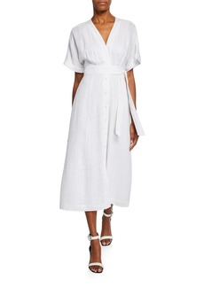 Equipment Nauman Button-Front Short-Sleeve Linen Dress
