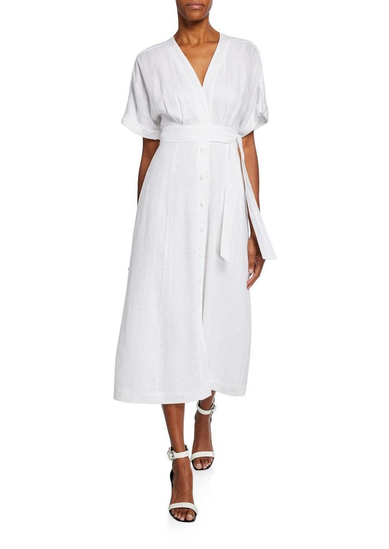 Equipment Nauman Button-Front Short-Sleeve Linen Dress