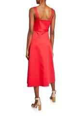 Equipment Oleisa Button-Front Sleeveless Midi Dress