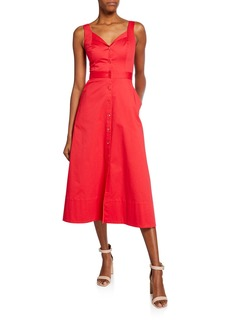 Equipment Oleisa Button-Front Sleeveless Midi Dress