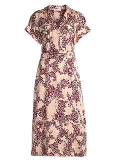 Equipment Orlena Floral & Leopard Print Silk-Blend A-Line Shirtdress