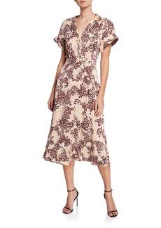 Equipment Orlenna Animal-Print Short-Sleeve Midi Dress