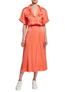 Equipment Orlenna Short-Sleeve Midi Dress with Notch Collar