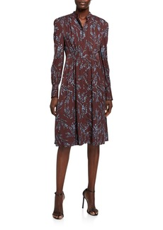 Equipment Ouesse Button-Front Long-Sleeve Dress