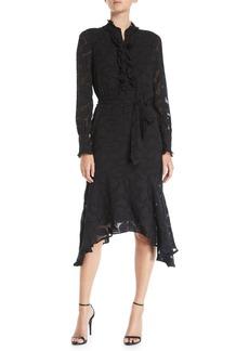 Equipment Palo Floral-Burnout Velvet Long-Sleeve Dress