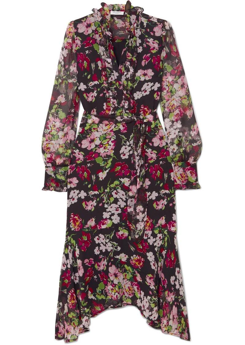 Equipment Palo Ruffled Floral-print Silk-chiffon Midi Dress