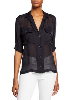 Equipment Parnella Short-Sleeve Button-Front Silk Shirt