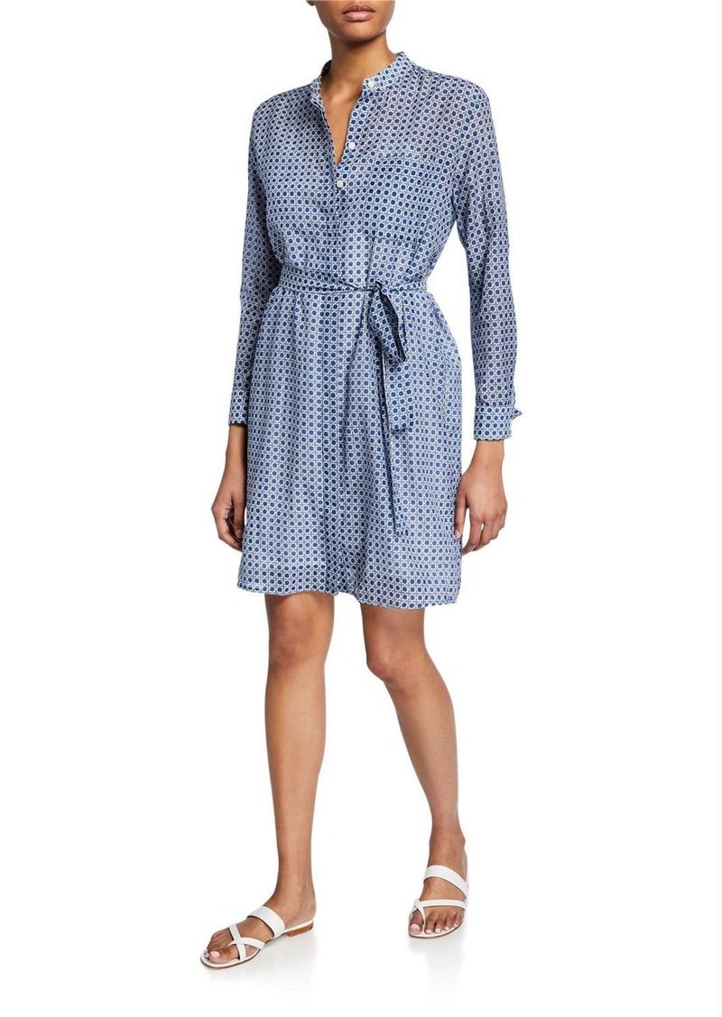 Equipment Ravena Printed Long-Sleeve Button-Front Dress
