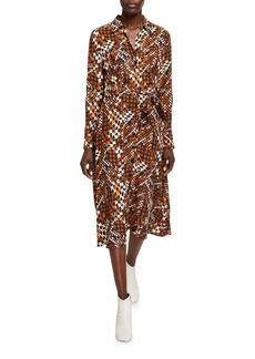 Equipment Relle Printed Long-Sleeve Midi Shirtdress