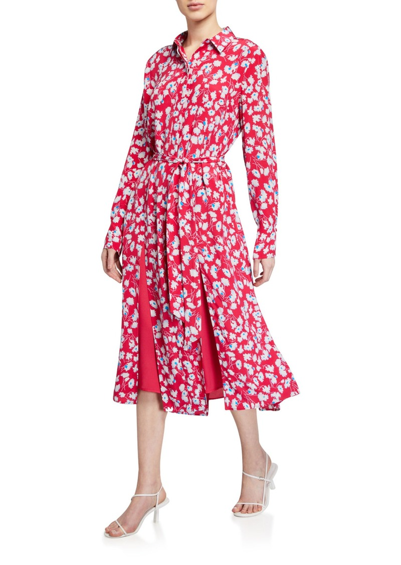 Equipment Ria Floral Long-Sleeve Belted Midi Dress