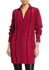 Equipment Riannon Long-Sleeve Mini Shirtdress