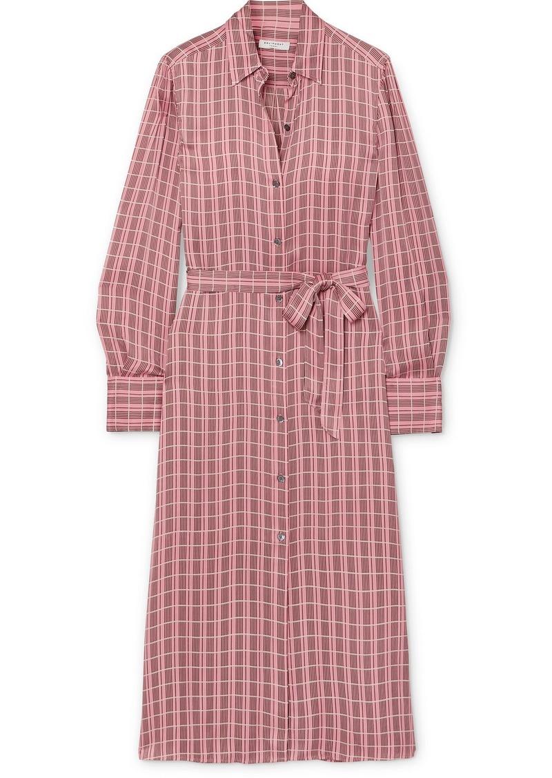 Equipment Rosalee Checked Silk-blend Satin Midi Dress