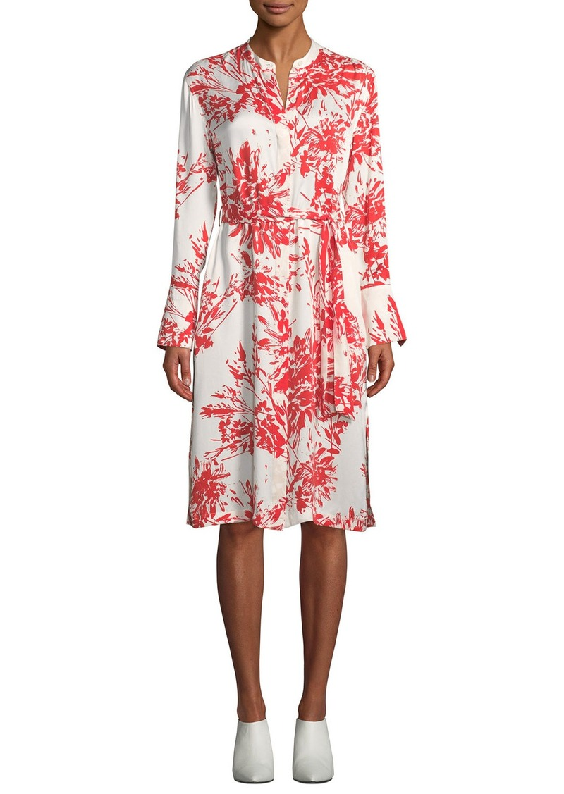 Equipment Roseabelle Button-Front Long-Sleeve Abstract Floral-Printed Dress