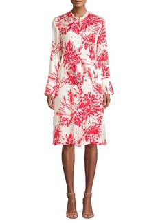 Equipment Roseabelle Floral-Print Tie-Waist A-Line Shirtdress