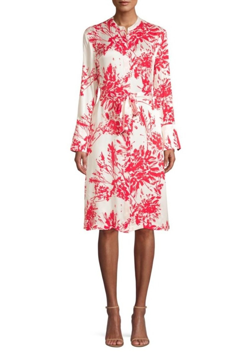 Equipment Roseabelle Floral-Print Tie-Waist A-Line Shirtdress