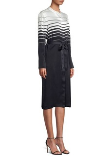 Equipment Roseabelle Stripe & Solid Tie-Waist Silk-Blend Shirtdress