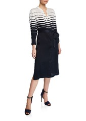 Equipment Roseabelle Striped Colorblock Button-Front Long-Sleeve Dress