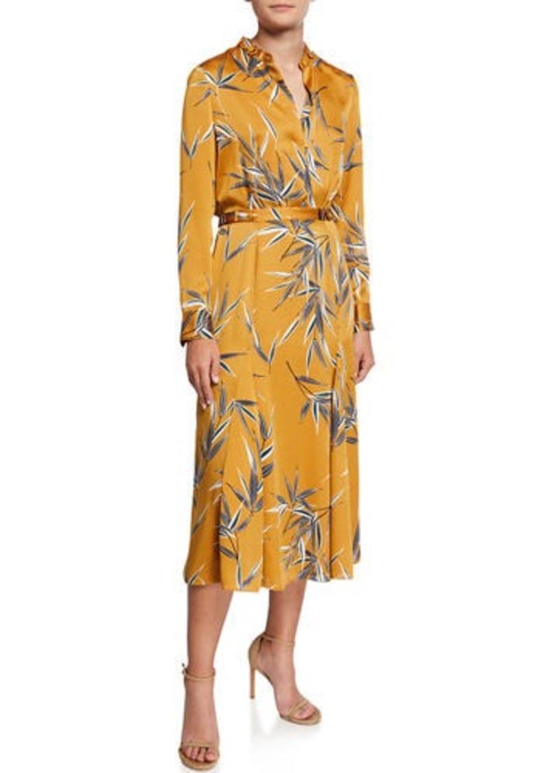 Equipment Sabenne Leaf-Print Long-Sleeve Midi Dress