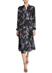 Equipment Sabenne Leaf-Print Long-Sleeve Midi Dress