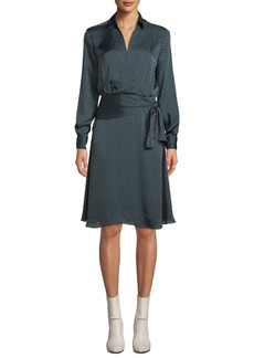 Equipment Short Vivienne Long-Sleeve Polka-Dot Satin Dress